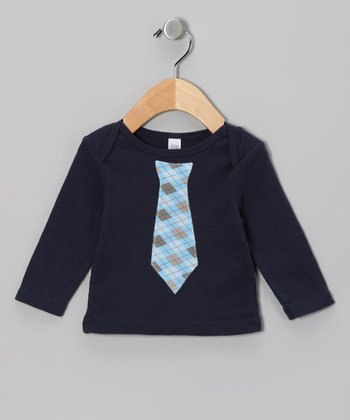 Navy Plaid Tie Tee - Infant