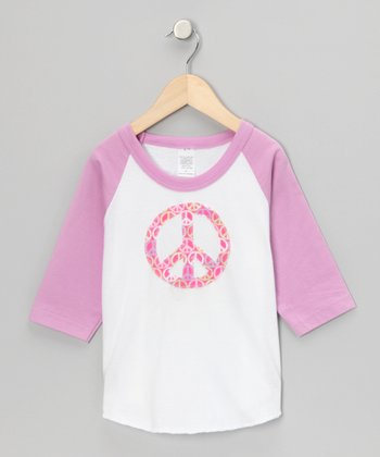 Lilac Peace Sign Raglan Tee - Toddler