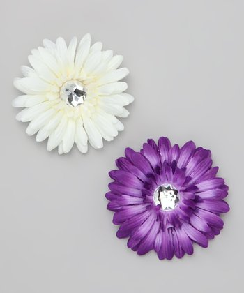 Purple & White Flower Clip Set