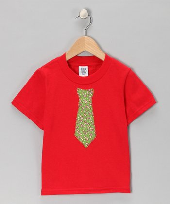 Red Candy Cane Tie Tee - Toddler & Kids