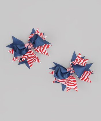 Red & Blue Bow Clip Set