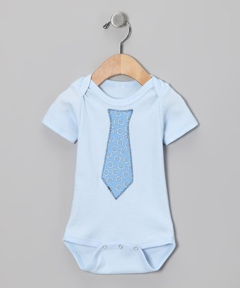 Light Blue Tie Bodysuit - Infant