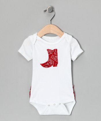 White & Red Cowgirl Ruffle Bodysuit - Infant
