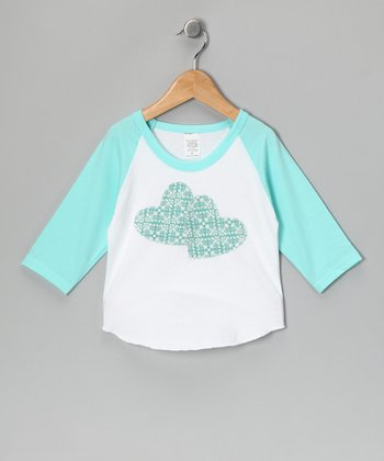 Spring & White Double Heart Raglan Tee - Toddler & Kids