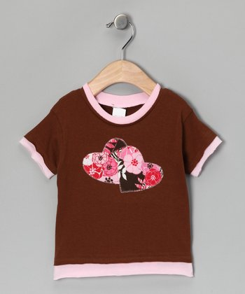 Brown & Pink Double Heart Layered Tee - Toddler