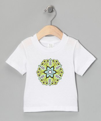 White & Green Flower Tee - Infant & Toddler