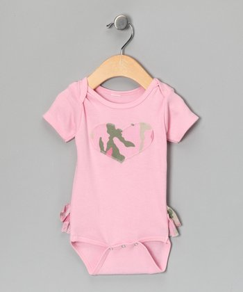 Pink Camo Heart Ruffle Bodysuit - Infant