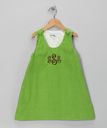 Green Corduroy Monogram Jumper - Infant, Toddler & Girls