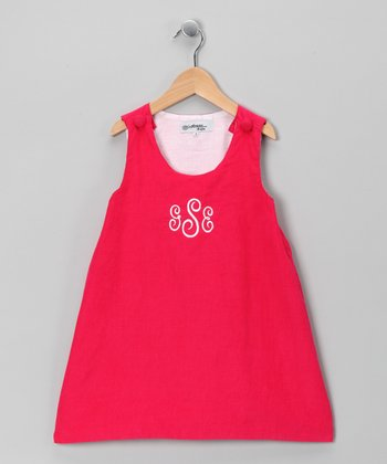 Hot Pink Corduroy Monogram Jumper - Infant
