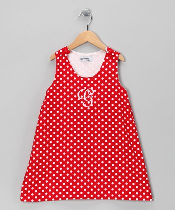 Red Polka Dot Corduroy Initial Jumper - Infant & Toddler