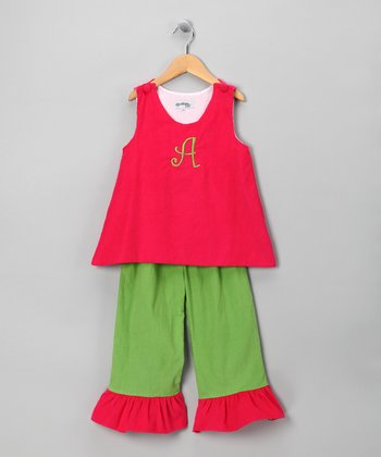 Pink & Green Initial Tank & Pants - Infant, Toddler & Girls