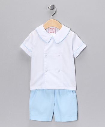 White Double-Breasted Top & Blue Shorts - Infant