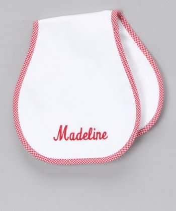 Red Personalized Burp Cloth