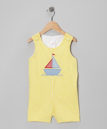 Yellow Sailboat Seersucker Shortalls - Infant & Toddler