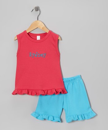 Pink Personalized Ruffle Tank & Shorts - Infant