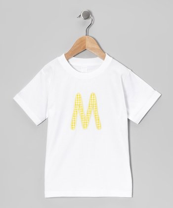 White & Yellow Initial Tee - Infant, Toddler & Kids