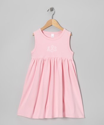 Pink Monogram Empire-Waist Dress - Infant, Toddler & Girls
