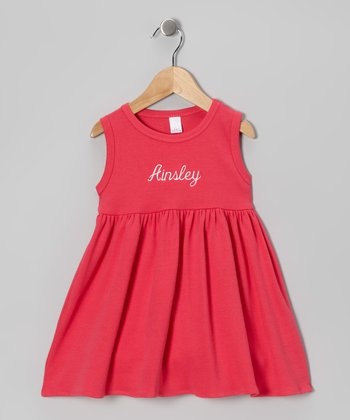 Fuchsia Personalized Empire-Waist Dress - Toddler & Girls