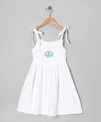 White & Blue Tie Monogram Dress - Toddler & Girls
