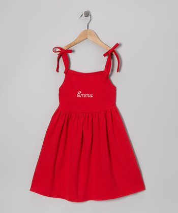 Red Tie Personalized Dress - Toddler & Girls