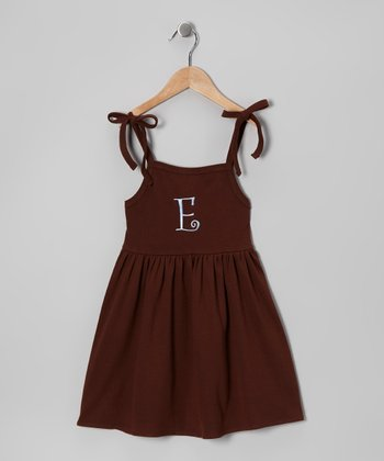 Chocolate & Light Blue Tie Initial Dress - Toddler & Girls