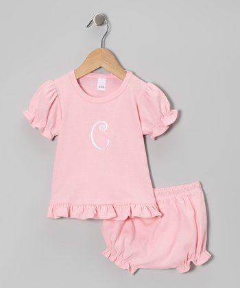 Pink Initial Ruffle Top & Bloomers - Infant