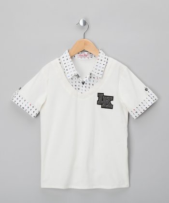 White & Black 'LK' Polo - Boys