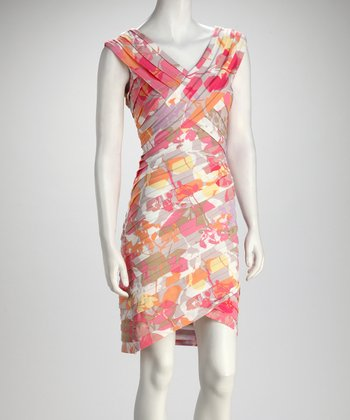 Pink Floral Bias Layer V-Neck Dress - Women