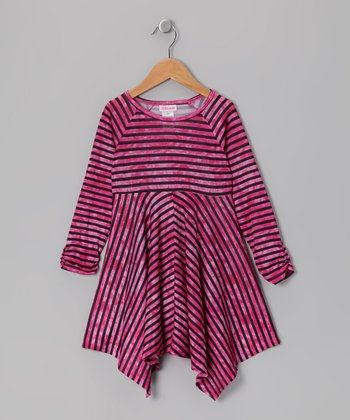 Hot Pink Stripe Handkerchief Dress - Girls