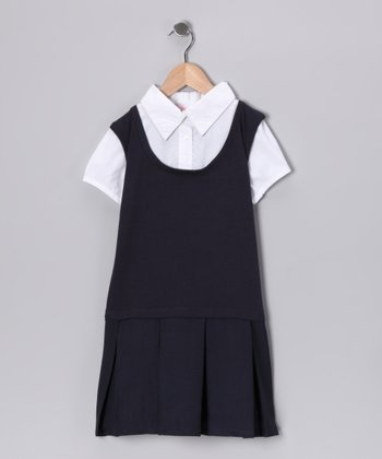 Eddie Bauer Navy Layered Pleated Dress - Girls