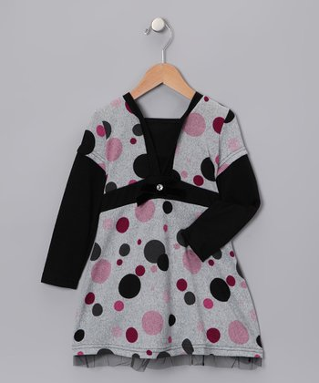 Gray & Black Polka Dot Layered Dress - Girls