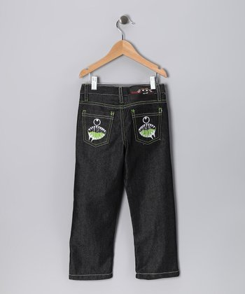 Dark Denim Slobber Mouth Straight-Leg Jeans - Toddler & Boys