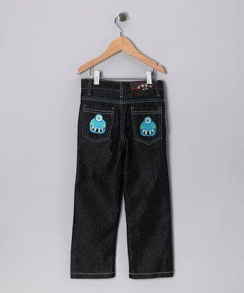 Dark Denim Smiley Cyclops Straight-Leg Jeans - Toddler & Boys