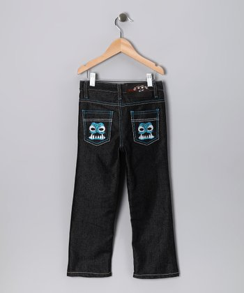 Dark Denim Dino Straight-Leg Jeans - Toddler & Boys
