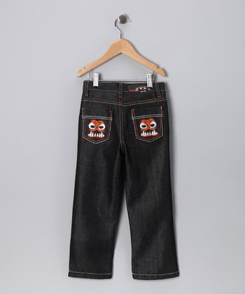 Dark Denim & Orange Dino Straight-Leg Jeans - Boys