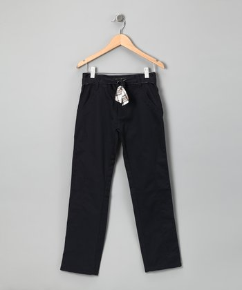 Longstreet Navy Plaid Belted Pants - Girls