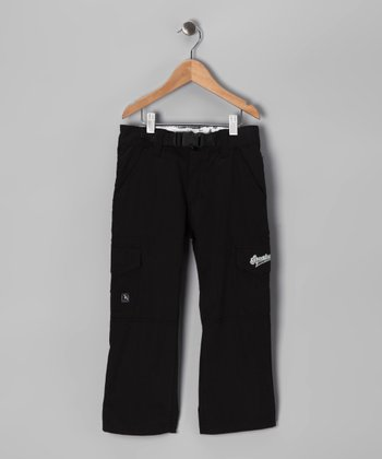 Black Belted Microfiber Cargo Pants - Boys