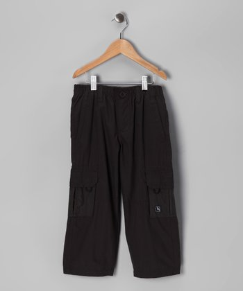 Charcoal Mesh-Lined Microfiber Cargo Pants - Boys
