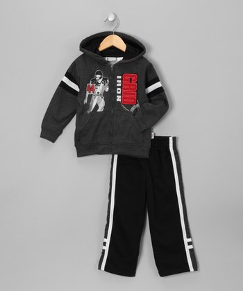 Gray 'Grid Iron' Zip-Up Hoodie & Pants - Boys