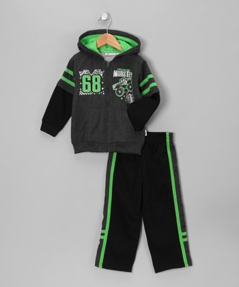Gray 'Monster' Zip-Up Hoodie & Pants - Boys