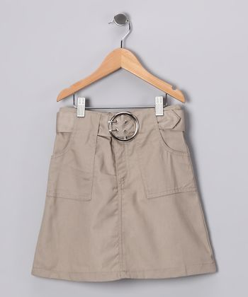 Khaki Belted A-Line Skirt - Girls