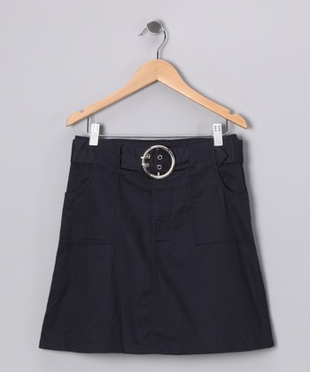 Navy Belted A-Line Skirt - Girls