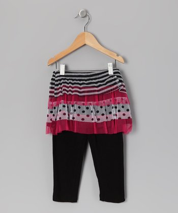 Black & Pink Stripe Skirted Leggings - Toddler & Girls