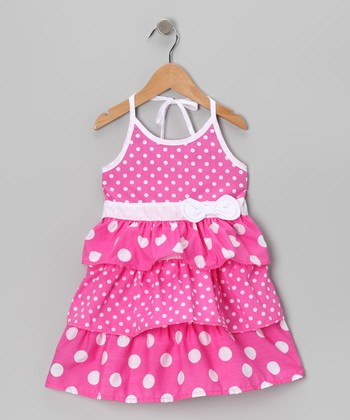 Pink Tier Halter Dress - Toddler