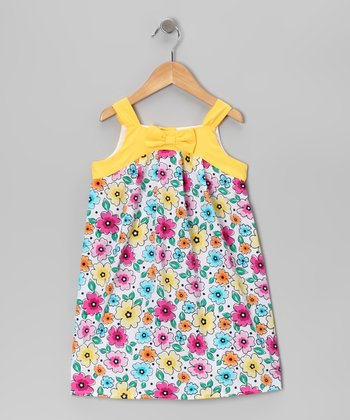 Yellow Floral Swing Dress - Girls