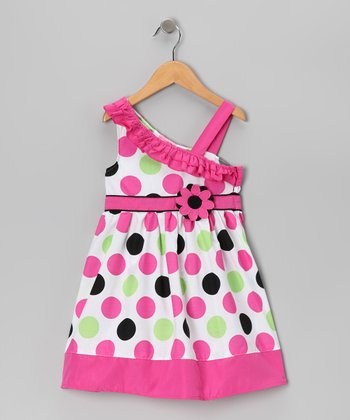 Pink Polka Dot Asymmetrical Dress - Girls