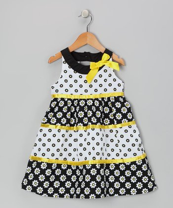 Black & Yellow Yoke Dress - Toddler & Girls