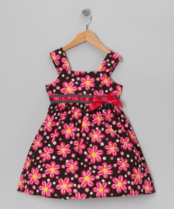 Hot Pink & Black Daisy Dress - Infant & Girls
