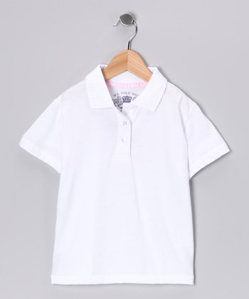 U.S. Polo Assn. White Scallop Polo - Girls