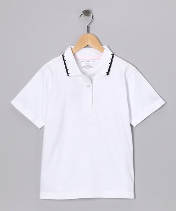 Eddie Bauer White & Black Scallop Polo - Girls